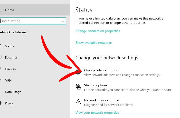 Change adapter settings